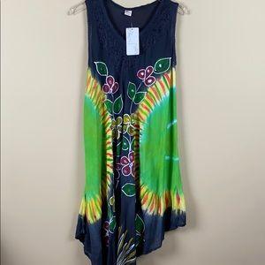 Ace Fashion Boho Tie Dye Midi Sun Dress-Black